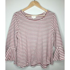 Anthropologie Deletta Bell Sleeve Stripe Red Top L
